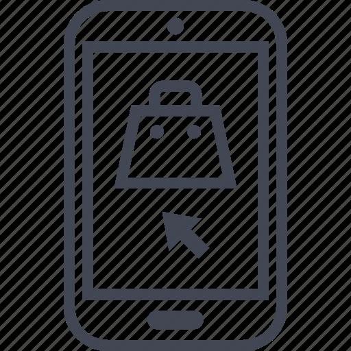 arrow, bag, cell, phone icon
