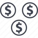 coin, ecommerce, online, shop, shopping, three icon