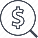 dollar, find, look, search icon