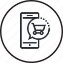 line, m-commerce, mobile, online, sale, shopping icon