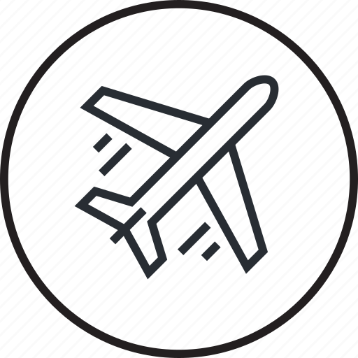 airplane, delivery, line, shopping, transport icon