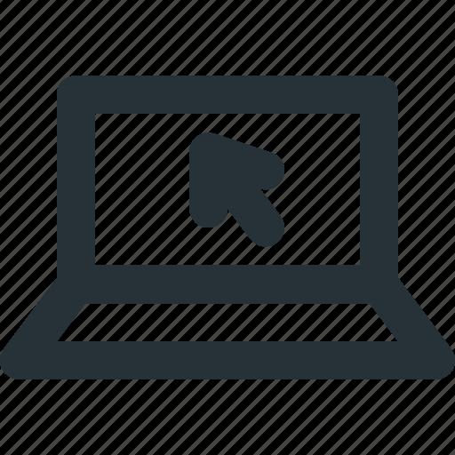cursor, e-commerce, laptop, online, shopping icon