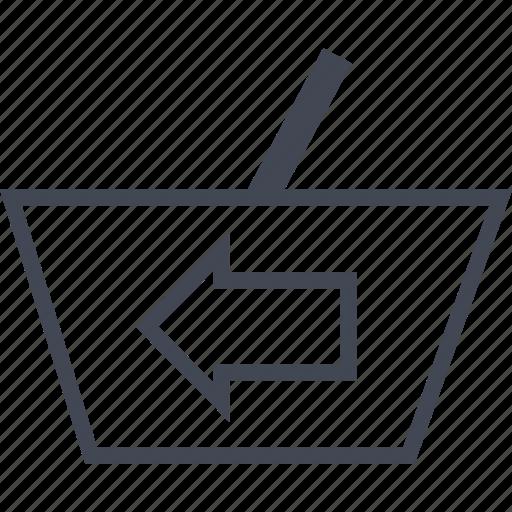 arrow, back, bag, left, price icon