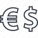 currency, dollar, euro, funds, sign icon