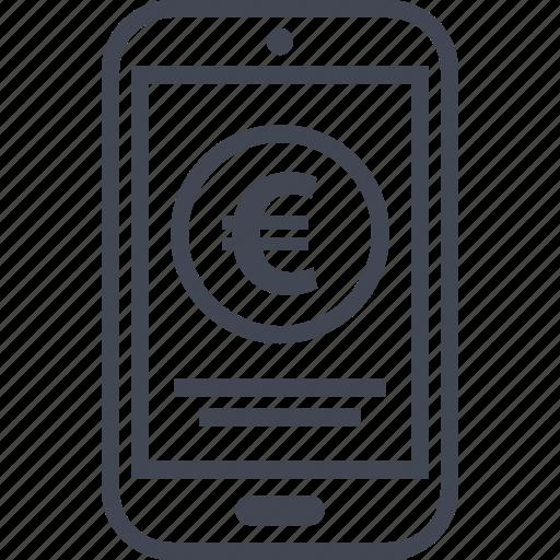 ecommerce, euro, mobile, online, shop, shopping icon
