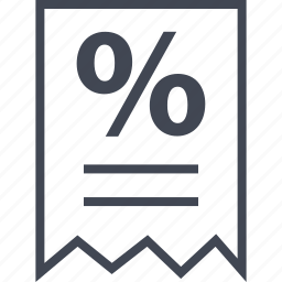 note, percent, percentage, receipt icon