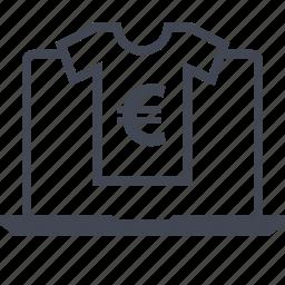laptop, online, tshirt, web icon