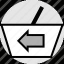 arrow, back, bag, hand, left icon