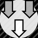 arrows, down, low, sales, three icon