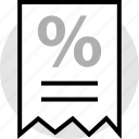 percent, percentage, receipt, sale, sign icon