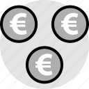 euro, now, pay, signs, three icon