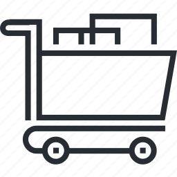cart, delivery, line, pixel icon, shopping, thin icon