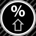 arrow, click, percent, percentage icon