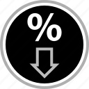 arrow, down, percent, percentage icon