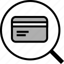 card, credit, glass, magnifying, offer, search icon