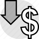 arrow, down, funds, pay, sign icon