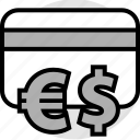 card, credit, dollar, euro, funds, sign icon