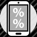 mobile, online, percent, percentage, web icon