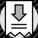 arrow, copy, down, note, receipt icon