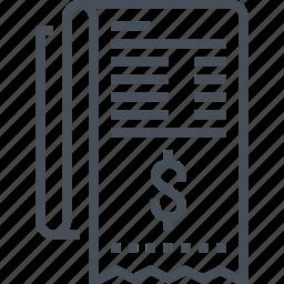 bill, calculator, document, dollar, file, invoice, receipt icon