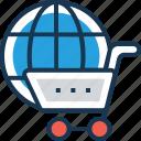 cart, globe, shopping, trolley, worldwide icon
