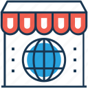 building, globe, marketplace, shop, store icon