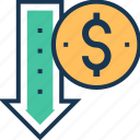 business, dollar, down, downfall, loss icon