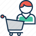 buyer, cart, purchaser, shopping, trolley