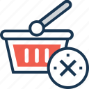 basket, cancel, cancel shopping, close, delete icon