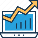 graph, growth, laptop, online graph, seo graph icon