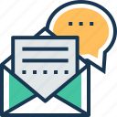 chat, email, envelope, letter, message