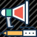 advert, bullhorn, loud hailer, megaphone, pencil icon