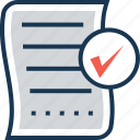 list, paper, composing, approved, checked icon