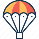 air balloon, hot air balloon, parachute balloon, skydiving, travel icon