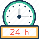 clock, customer service, helpline, services, twenty four hours icon