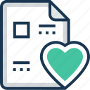 documents, favorite paper, heart, paper, sheet icon