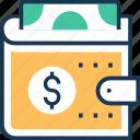 billfold wallet, card holder, pocket purse, purse, wallet icon