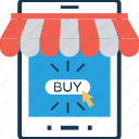 buy online, m commerce, online shopping, shopping, smartphone icon