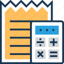 bill, calculation, calculator, receipt, voucher icon
