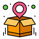 destination, location, map, package, parcel