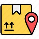 courier location, location, logistic address, package, package location, parcel address, shipping location icon