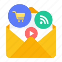 e-commerce, email, feed, marketing, video icon
