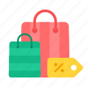 bags, discount, e-commerce, offers, purchase, shopping, tag icon