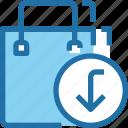 arrow, bag, business, shop, shopping icon