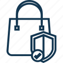 defence, firewall, guaranty, protection, secure shopping, shield with tote, tote bag icon