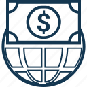 currency exchange, dollar, dollar sign, globe with currency, international currency, money conversion, worldwide currency icon