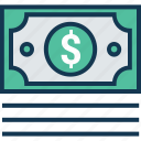 banknote, currency, currency note, dollar, finance, paper money, paper note icon
