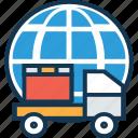 delivery van with global, delivery van with globe, international delivery, pick up van, van, worldwide delivery icon
