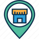 location marker, location pin, mall location, map locator, map pin, shopping cart, store location icon