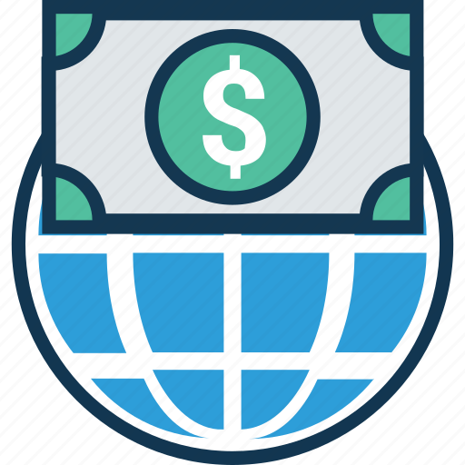 Currency Exchange Dollar Sign Globe With International Money Conversion Worldwide Icon